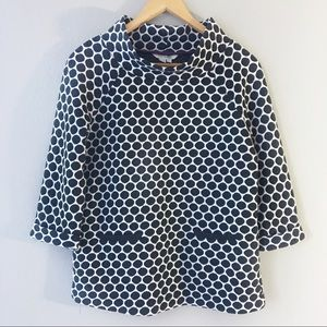 Boden Polka Dot Jersey Jacquard Top Black White 6